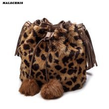Women   Bags Autumn And Winter Rabbit Fur Bucket  Fashion Ladies Shoulder Bag Girl  Leopard Pattern Phone Bags