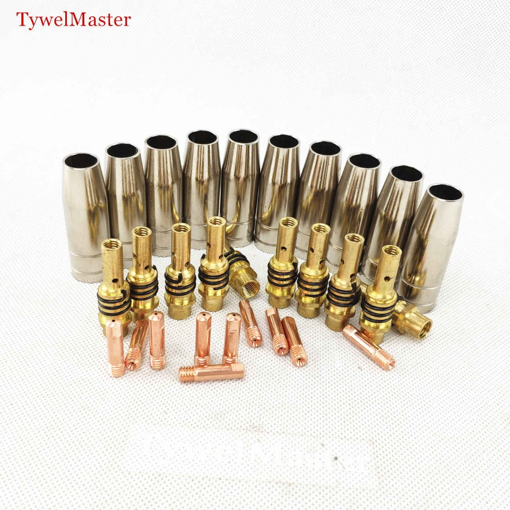 15AK Torch Gun Consumables 30pcs MIG Torch Gas Nozzle Tips Holder For MIG MAG Welding Machine