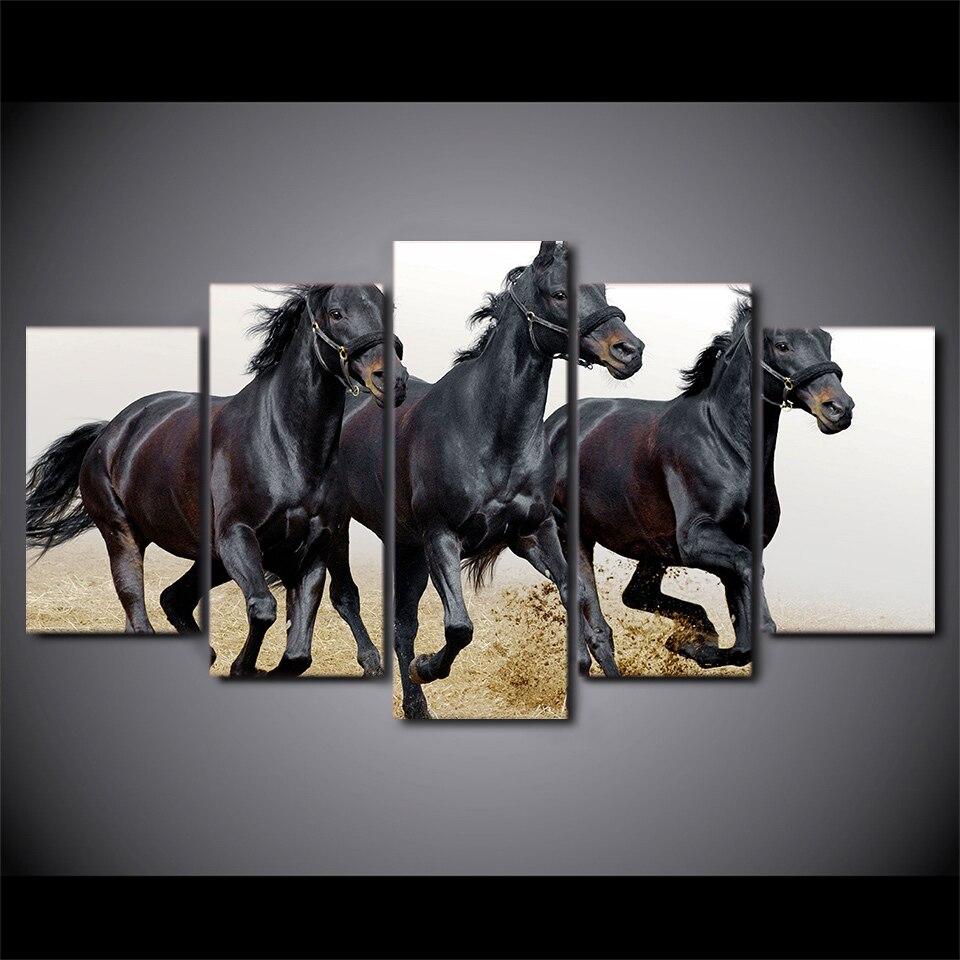 5 panneau noir chevaux course toile HD imprimé affiche cadre peinture modulaire salon mur Art Duvar Tablolar