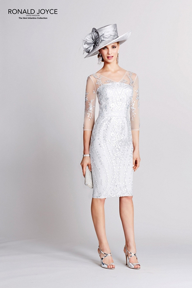 W384 2016 White Jersey Sheath Mother of the Bridal Dress Knee Length Sheer  Lace Scoop Neck vestido de madrinha Ronald Joyce on Aliexpress.com  cdc084156175