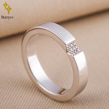 a977f80579ed 18 K oro blanco sólido 0.04CT SI H anillos de diamantes para las mujeres  hombres amantes Aniversario de compromiso de la boda joyería romántica  regalo