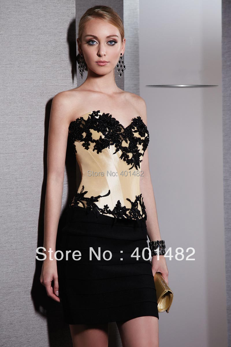 Freeshipping New Arrival Strapless Straight Sheath Gown Sweetheart Neck Appliqued   Cocktail     Dresses
