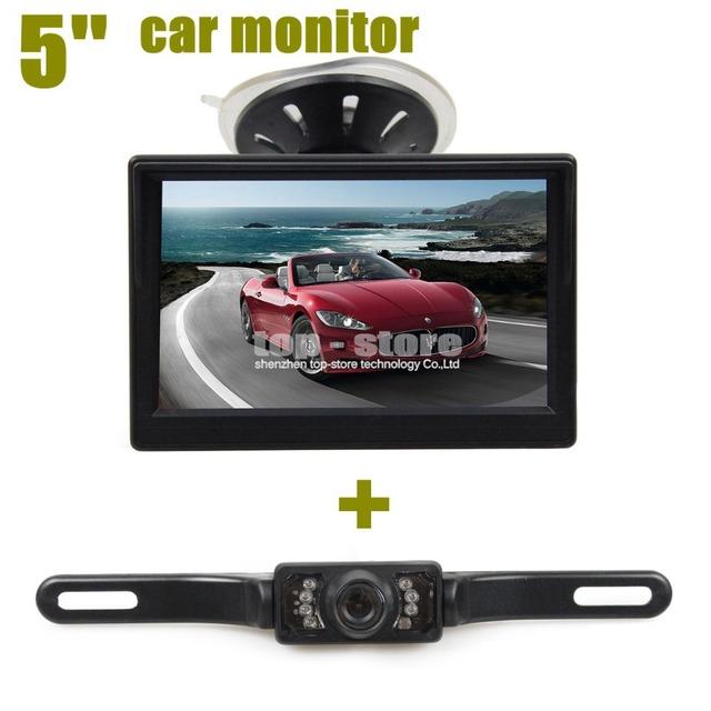 DIYKIT Novo parque de Estacionamento Furgão IR Night Vision Camera Invertendo + 5 Polegada Monitor Do Carro Rear View Sistema de Segurança Frete Grátis