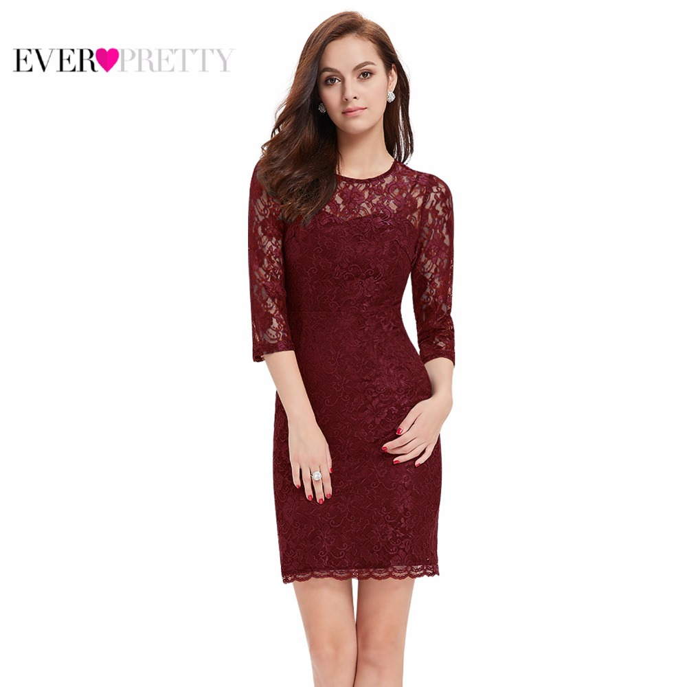 [Clearance Sale]Elegant   Cocktail     Dresses   Ever Pretty EP03792 Round Neck Three Quarter Sleeves Bodycon Short Party   Dresses   2018