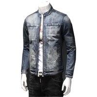 Джинсы Для мужчин с джинсовой Куртки отбеленные омрачены Мыть Синие джинсы куртка Новый Дизайн Для мужчин Куртки пальто европейский