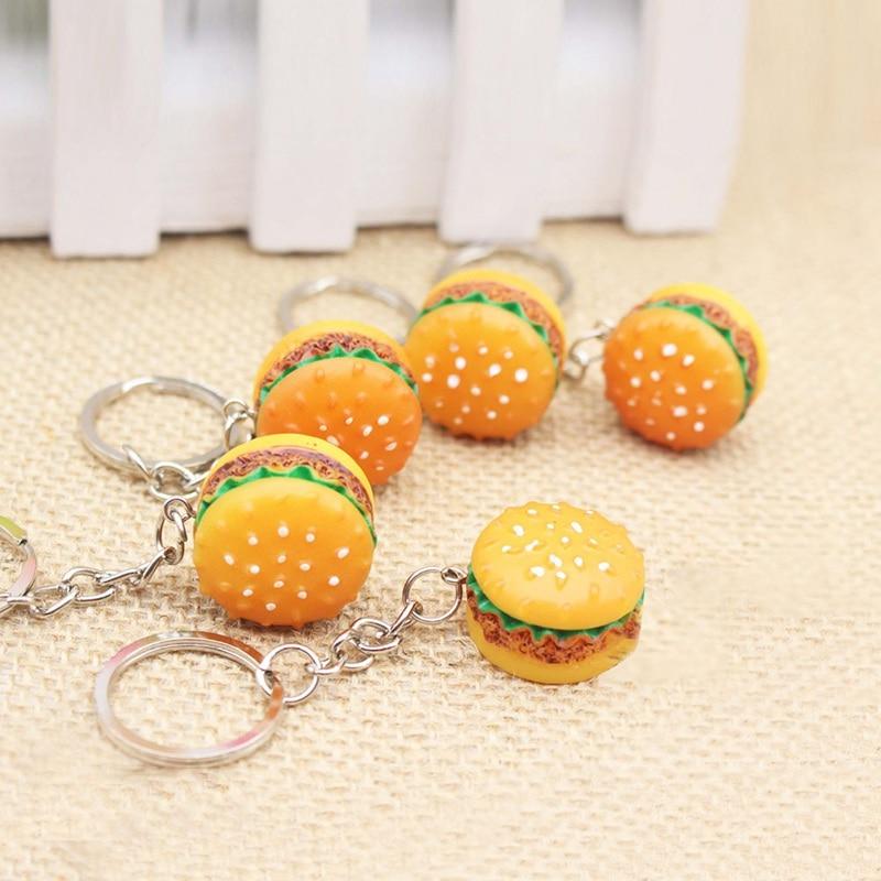 Birthday Gift Simulation Food Hamburger Cute Hamburger Keychain Pendant Key Ring Novelty Key Chain Christmas Gifts