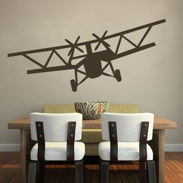 Home Decoration Huge Bi Plane Vinyl Wall Decal Stickers Airplane Decor Sticker Art