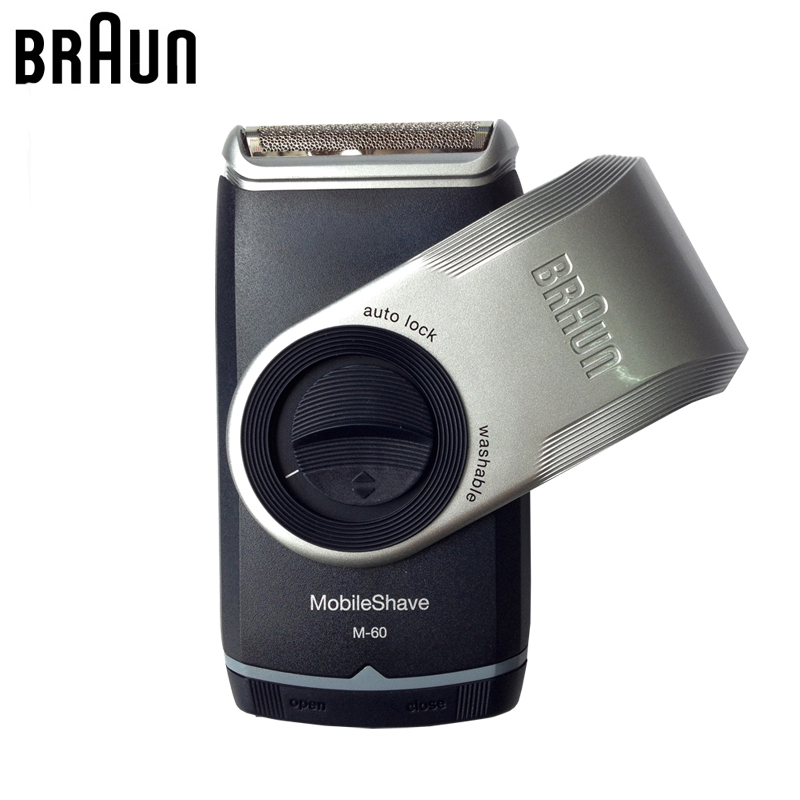 Braun Electric Shaver M60 Metallic silver Portable Washable Face Care Hair Mustache Razor Safety Use 2 AA Batteries(not include)