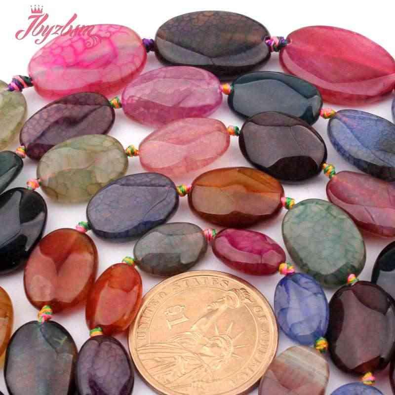 "10x14,13x18,20x30 مللي متر بيضاوي الأوجه متصدع متعدد الألوان عقيق الحجر الطبيعي الخرز لقلادة DIY صنع المجوهرات 15 ""شحن مجاني"