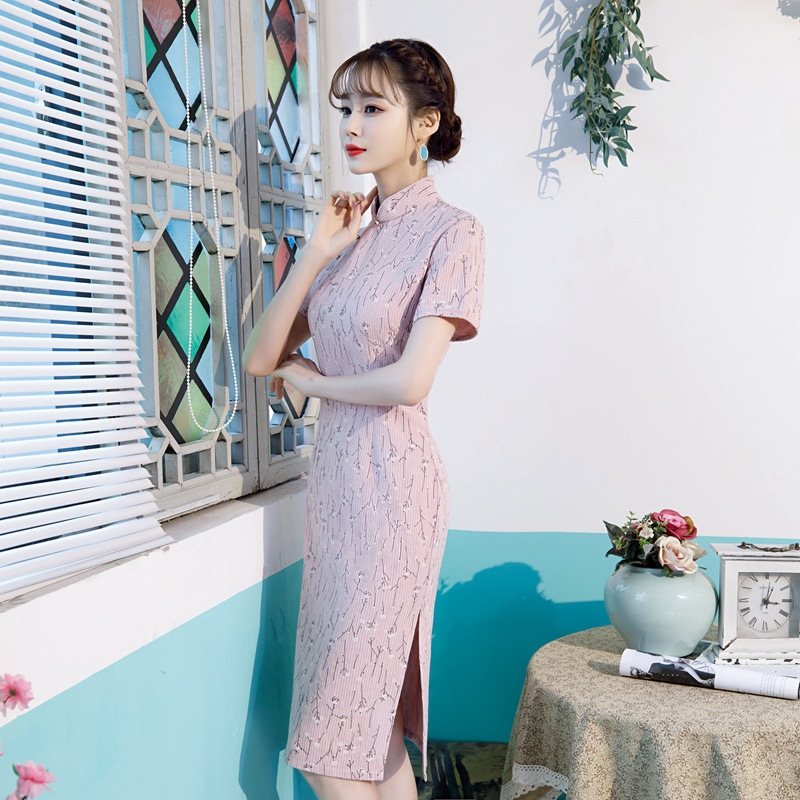Pink Cotton Linen Knee Length Silm Ladies Cheongsam Dress Chinese Style Stage Show Elegant Classic Print Floral Qipao S 3XL