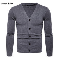 2018 Men's Fashion Boutique Pure Color Cotton Cardigan V neck Formal Social Business Knitting A Sweater Male Sweater