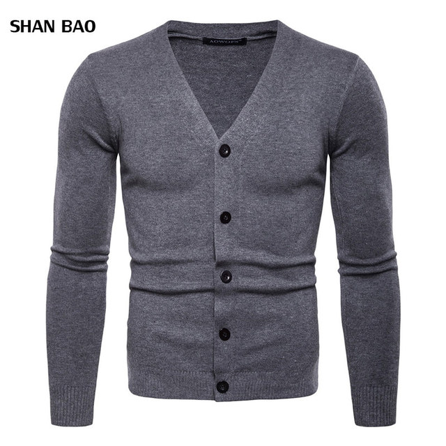 e43a715d5117 2018 Men's Fashion Boutique Pure Color Cotton Cardigan V-neck Formal Social  Business Knitting A Sweater Male Sweater