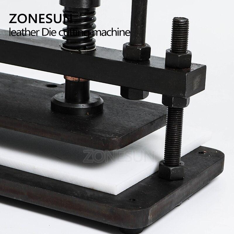 ZONESUN 3616 cm doble rueda de mano de cuero cortadora de papel fotográfico PVC/EVA hoja molde cortador de cuero troquelado máquina Herramienta - 3