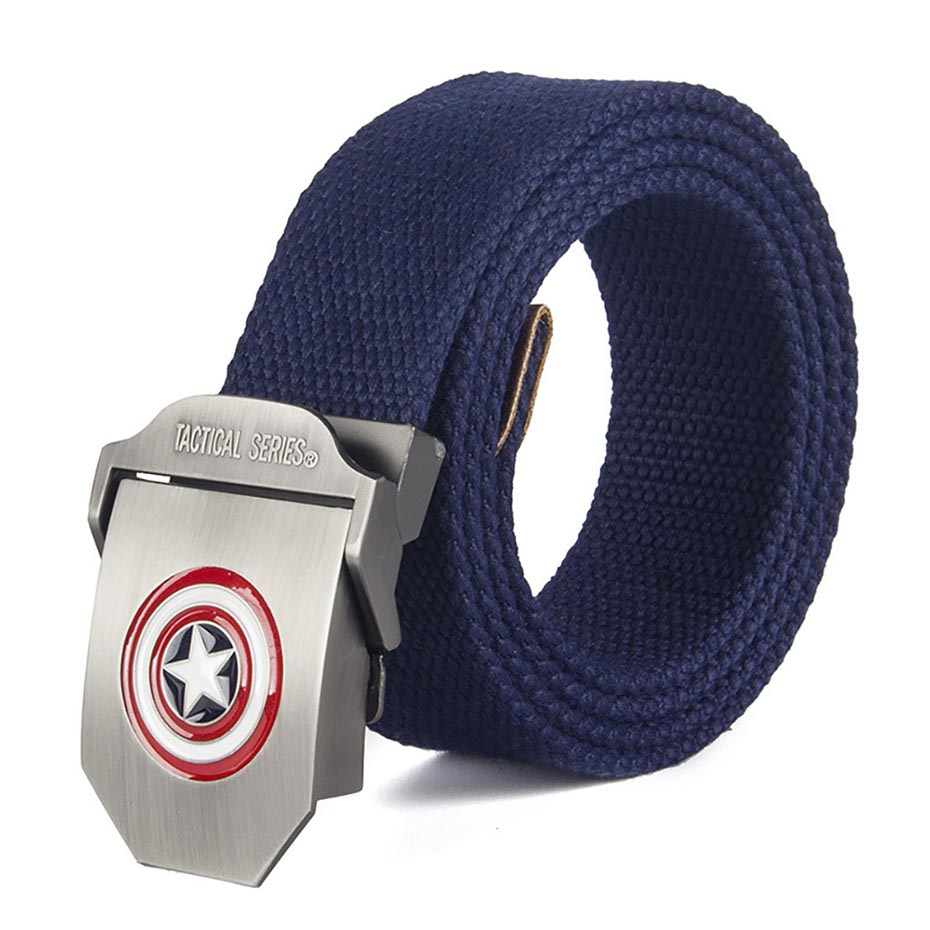2018 Male   Belt   High Quality Captain America Automatic Buckle   Belt   For Men Casual Style Tactical   Belt   For Jeans 120cm Wholesale