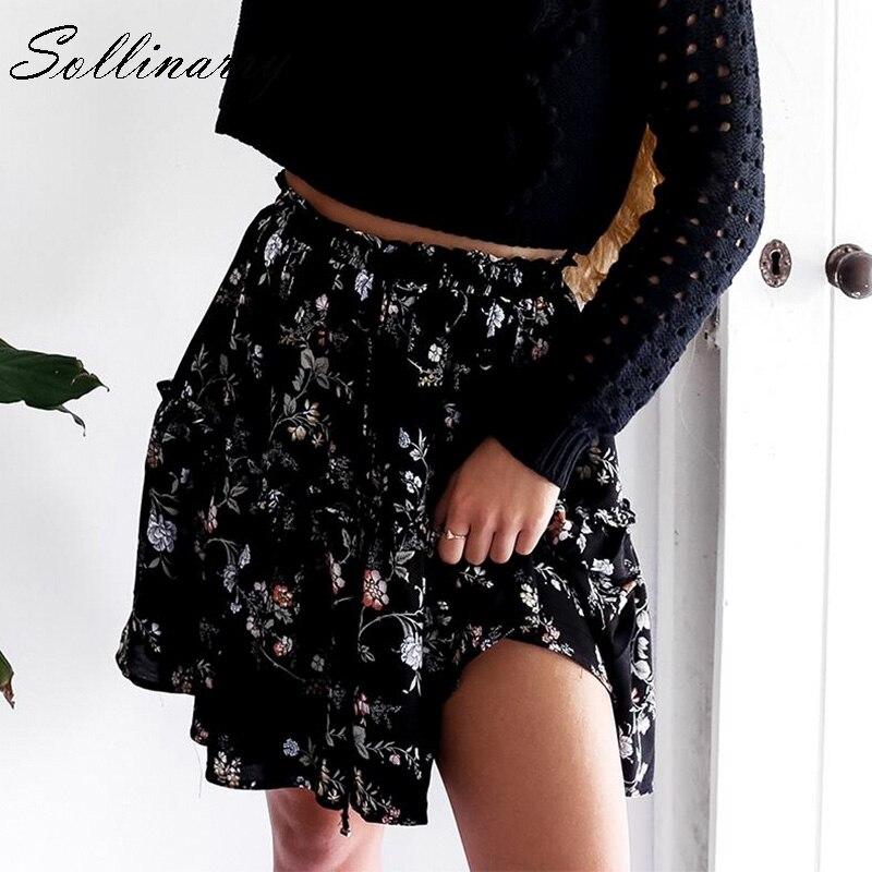 Sollinarry Floral gasa Casual Faldas Mujer otoño alta cintura moda volante chica falda de invierno 2019 playa negro falda femenina