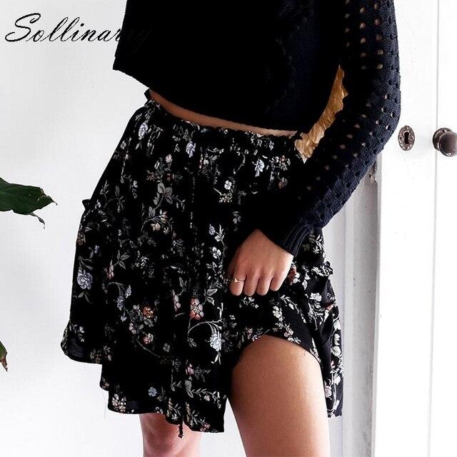Sollinarry z kwiatowym wzorem z szyfonu spódnice na co dzień kobiety jesień wysokiej talii moda wzburzyć dziewczyna zimowa spódnica 2019 plaża czarna kobieca spódnica