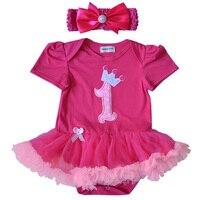 QUIKGROW Newborn Baby Girl Dresses Summer Infant Short Sleeve Rose Red Snap Buttons Tutu Dress Elastic