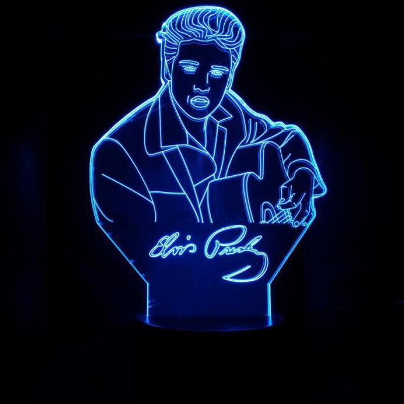 Elvis Table Lamp Touch Sensor 7 Color Changing Child Kids Gift The King Singer Elvis Aaron Presley Night Light LED Bedroom Decor in LED Night Lights from Lights Lighting