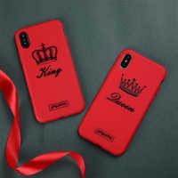 Dessin animé Téléphone étui pour iphone X XS MAX Plus Romantique Roi Reine Couples Rouge Doux en silicone Téléphone étui pour iphone 8 7 Plus