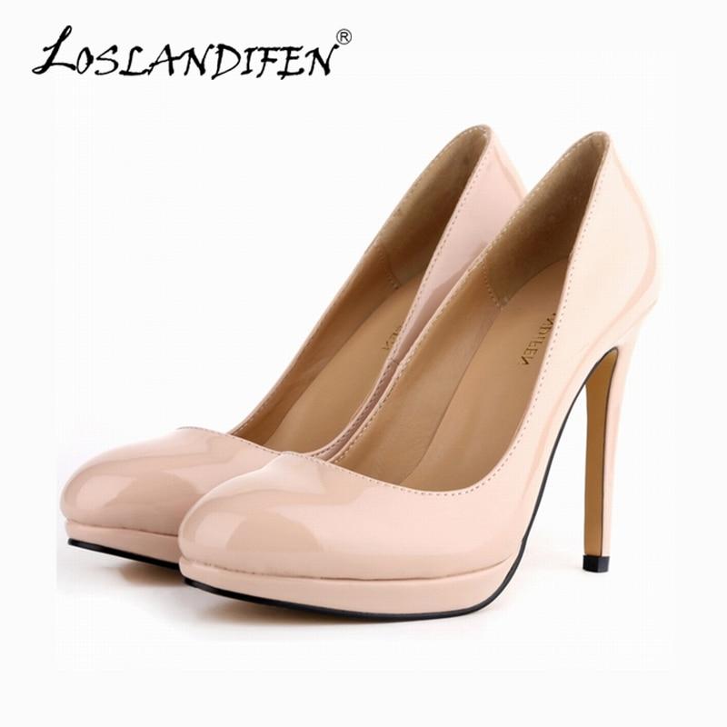 Loslandifen mujeres PU de cuero de alta patente talón señaló plataforma toe  corset estilo trabajo bombas zapatos de US4-11 806-1 pa 3f3728f3aeb11