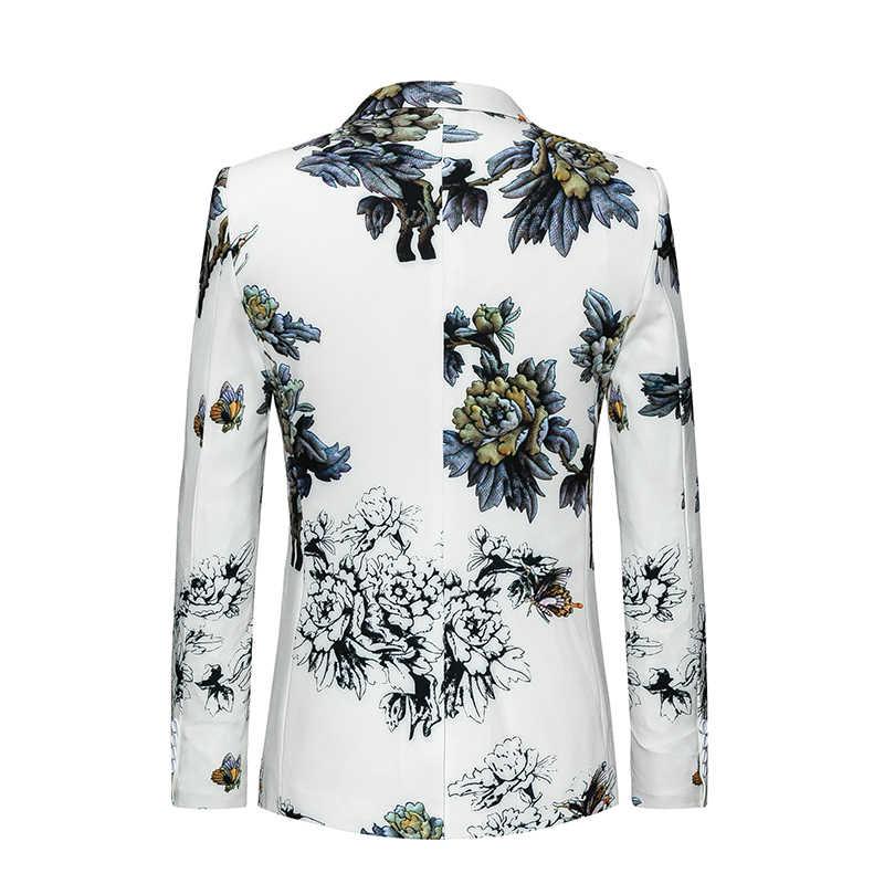 新到着男性白花スーツジャケットファッションビジネス宴会のドレスコート大サイズ 6XL