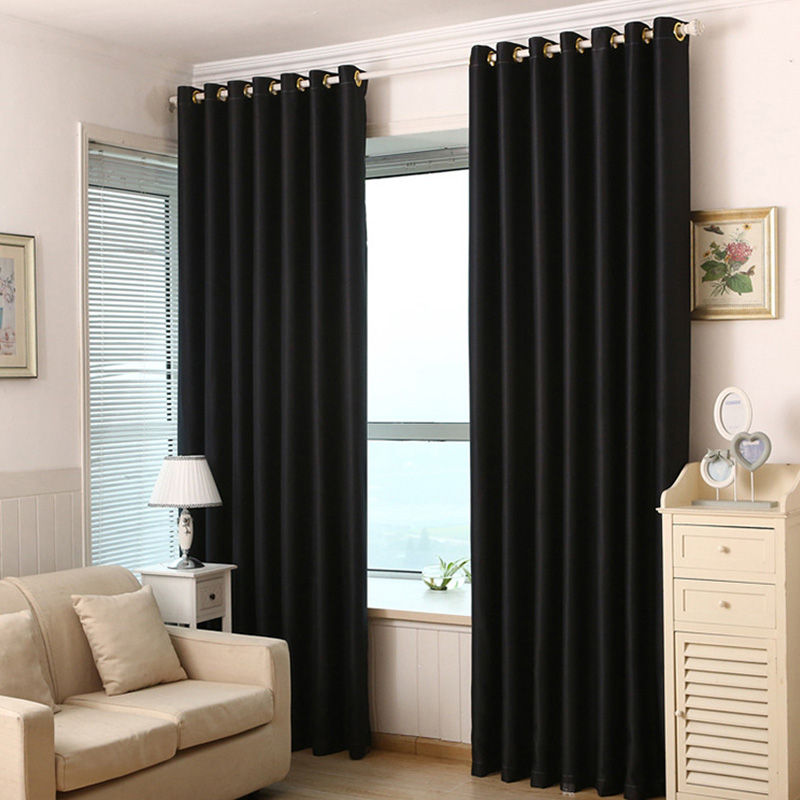 Thick Solid Polyester Modern Curtains For Living Room Bedroom Blackout Curtains Cortinas Drapes