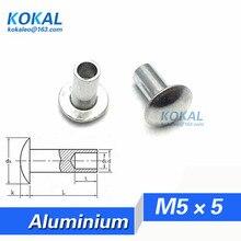 [YKAL-M5* 5] 100 шт в наборе, M5 серии овальная головка полу-трубчатая заклепка M5* 5 мм алюминиевая стальная заклепка