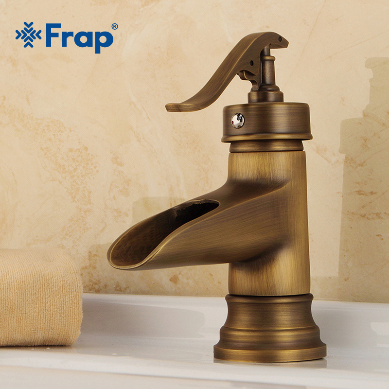 FRAP Brass Single Handle Control Faucet Kitchen Bathroom Basin Mixer Tap Antique Sink Basin Tap Bathroom Sink Faucets Y10073 frap kitchen faucets antique brass bathroom sink faucet spout double cross handle 360 degree swivel bath basin mixer tap f4019 4