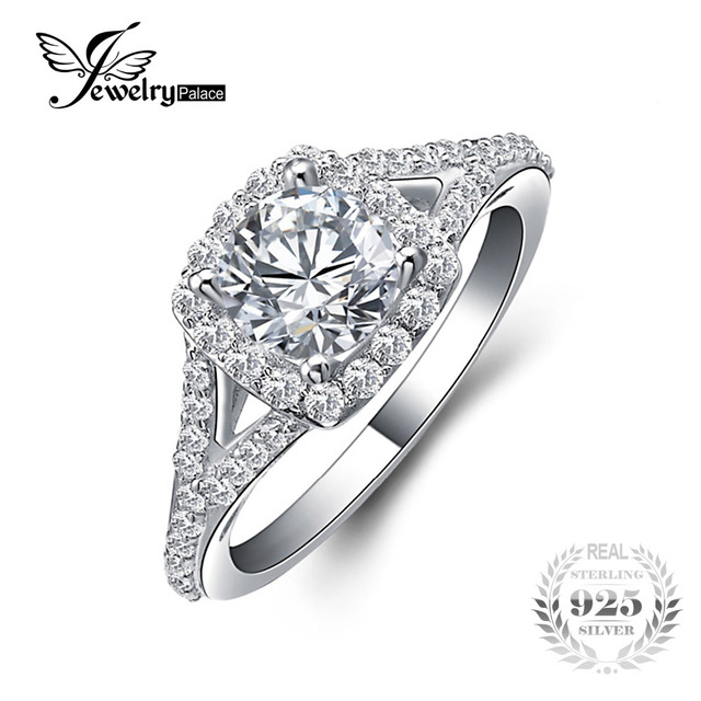 JewelryPalace 2.2ct Cubic Zirconia Halo Solitaire Engagement Ring 925 Sterling Silver JYH1obA