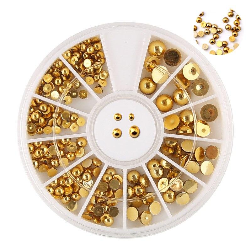 3D металлические художественные талисманы для ногтей, полукруглые золотые и Серебристые цвета, 2-4 мм, смешанные жемчужные модные наконечник...