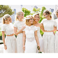 New Arrivel Scoop 2 Pieces White Chiffon Lace Bridesmaid Dress Vestido De Festa De Casamento Long Brides Maid Dresses