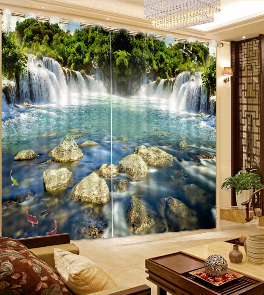 Fashion Customized Waterfall Scenery Curtain Stone Green Curtain Blue Curtain Blackout Shade Window Curtains