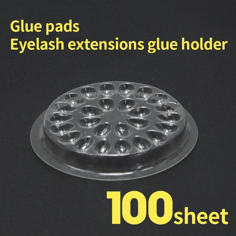 NATUHANA 100pcs Eyelash Plastic Glue Holder Glue Gasket Adhesive Pallet Eyelash Extension Glue Pads Flower Shape Pad Makeup Tool