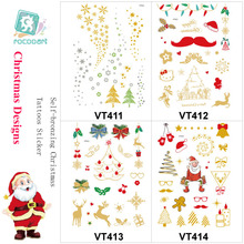 VT411-414 Latest Designed Christmas Gift Body Temporary Bronzing Tattos Stickers with Various Details