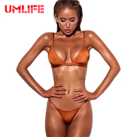 2017 Women Sexy Brazilian Bikini Set Two Pieces Swimsuit Female Thong Bikinis Set Orange Pink Swimwear