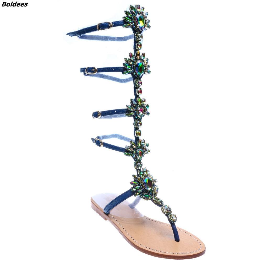 Trendy Design Buckle Straps Flat Sandals Woman Knee High Rhinestone Gladiator Sandal Boot Bohemia Style Crystal Beach Shoes - 5