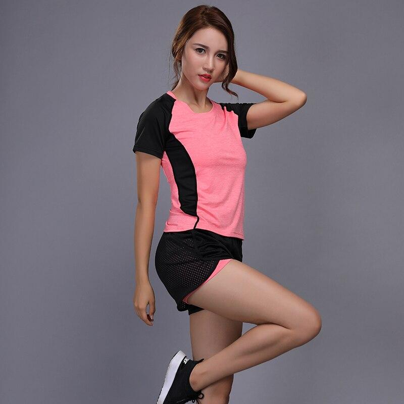 Women Yoga Clothing Sets Tracksuit T Shirt Tops Shirts Shorts Set Running font b Fitness b