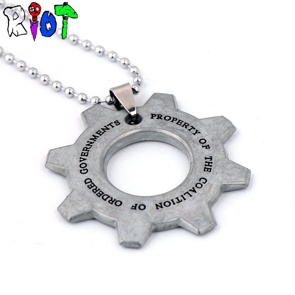 Game Gears of War Bahamut vintage choker Necklace Round bead chain alloy wheel gear shape Pendant Necklaces charms accessories