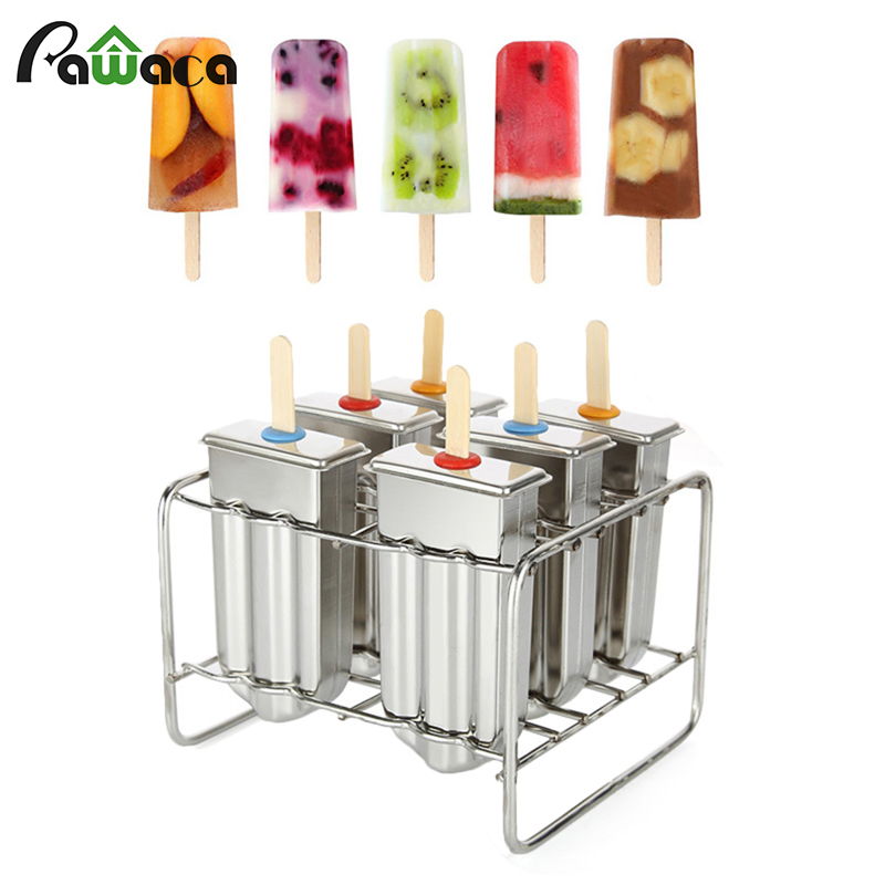 6Pcs Stainless Steel Popsicle Molds Set Ice Cream Maker Ice Lolly Pop Mold with Stick Holder Rack Brush DIY Ice Cream Moulds