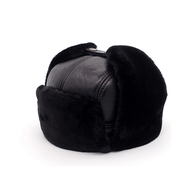 2018 Winter Men Real Genuine Leather Bomber Hats Protect Ears Natural Real Sheepskin Leather Cap Real Sheepskin Leather Hat