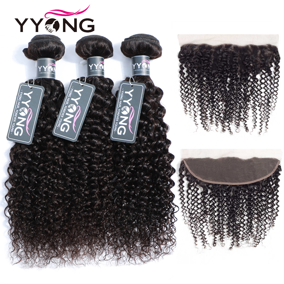Yyong 3 Remy Hair Bundles With Frontal Peruvian Kinky Curly Weave Human Hair Pre Plucked Lace