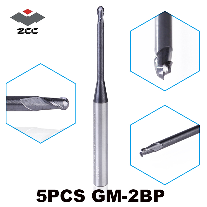5pcs lot ZCC CT GM 2BP R0 25 R2 5 ball nose end mill Milling cutter
