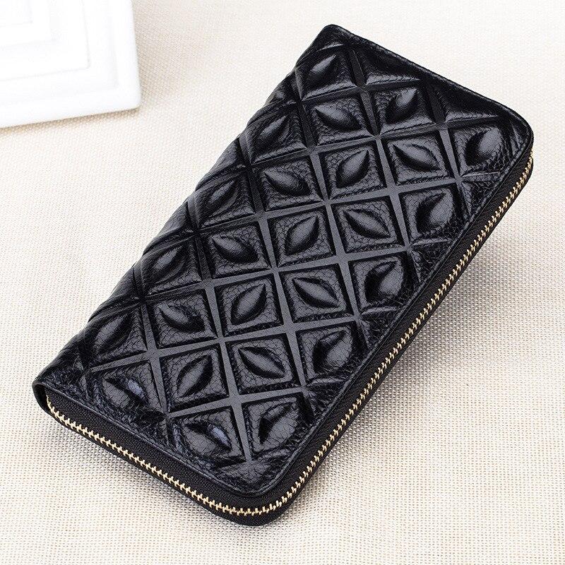 100% GENUINE LEATHER Brand New 2017 Fashion Luxury Print Pattern Women Purse Leather Long Wallet Women Bags Zipper Wallets Cluth