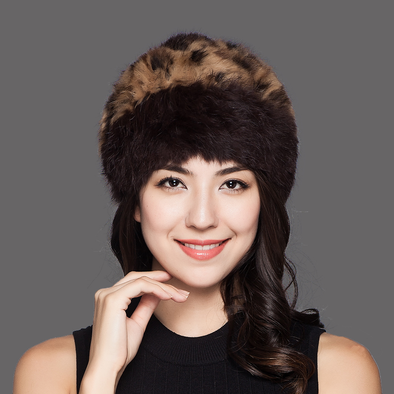 Charles Perra Women Winter Hats Thermal Hand Woven Warm Wool Knitted Hat Rabbit Hair Caps Casual Fashion Elegant Beanies 9702