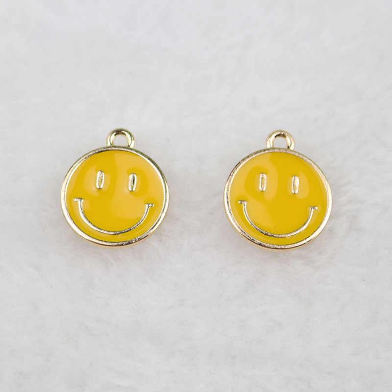 20 יח'\חבילה 16*19mm זהב צבע טון סגסוגת אמייל חמוד פרצוף מחייך קסמי תליון DIY עגיל תכשיטים קישוט