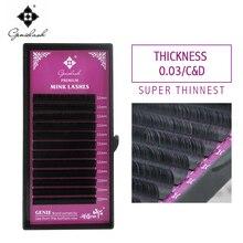 1 pc 0.03 C/D Curl Mink Eyelash Extension Super Thin and Soft Materail 3d 6d 12d Volume lashes Tray Lash