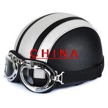 Белый и Черный Мотоцикл Скутер ПУ Кожа Открытым Лицом Половина Шлем ж/Козырек + Очки *