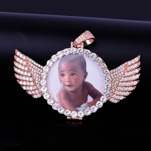 Image 5 - Angel Wing Custom Photo Pendant Medallion Real Gold Plated Hip Hop Jewelry