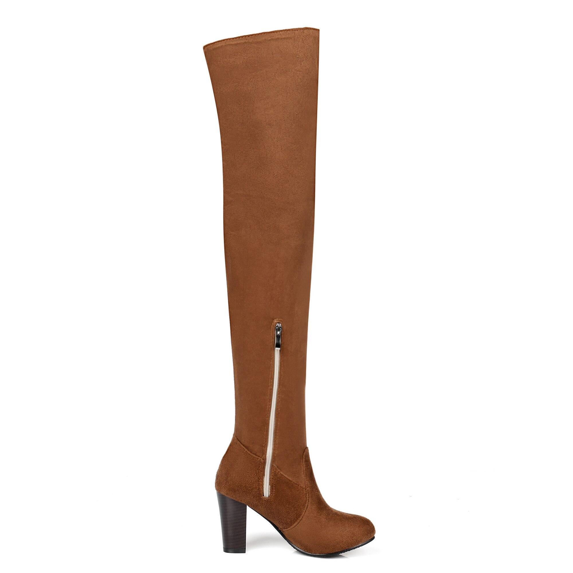 Sexy Zapatos Botas Qzyerai marrón Cálido Rodilla Casual Invierno Moda Tapered Para Señora Negro Mujer wY8rYzqH