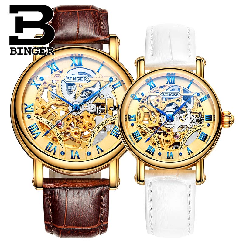 Automatic Mechanical Watch BINGER  Couple Skeleton Women Watch Famous Brand New Fashion Men Wristwatch B-5066M Relogio Masculino